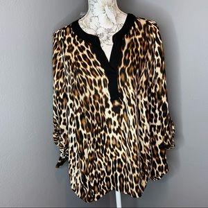 New! Worthington 1X Sheer Leopard Top Blouse Light